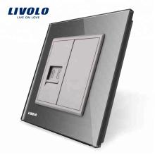 Панель из серого хрусталя Livolo, одноканальная телефонная розетка / розетка VL-C791T-15