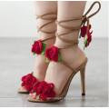 Rose Straped Lace Slippers Sandálias de Salto Alto Mulheres