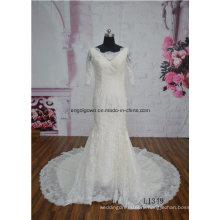 Короткий Рукав Цвет Шампанского Русалка Поезд Свадебное Платье Свадебное Платье