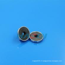 Base de l'aimant à pot ronde en ferrite permanente
