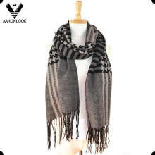 Fashion Checked Pattern Woven Schal mit Fransen