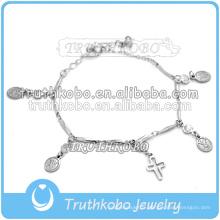 chapelets catholiques bracelet en acier inoxydable charme religieux design simple bracelet chrétien 2016 usine de dongguan