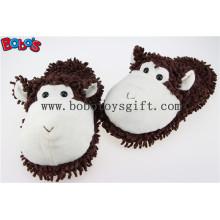 Sapatos de interior Plush Stuffed Puce Monkey Men / Women Comfort Slippers