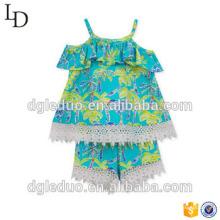 2017 venta al por mayor 2 pedazos del vestido de la ropa del bebé niños del verano de la colmena del vestido ropa linda del cabrito