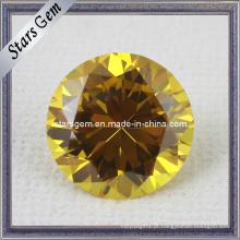 AA Brilhante forma redonda ouro amarelo CZ Gemstone para jóias