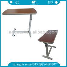 AG-OBT001 table à manger en bois hôpital ordinateur portable overbed utilisé table de chevet réglable