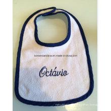 Customized Logo Embroidered Cotton Terry Cheap White Baby Feeder Bib