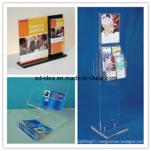 Clear Acrylic Sign Holder Brochure Pocket Stand, Newspaper Banner (AD-ACL-3881)