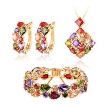 Ensembles de bijoux nuptiaux bijoux en laiton plaqué or 18 carats (CST0036)