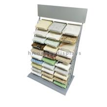 Counter Top Stein Material Retail Store Showroom Display Benutzerdefinierte 3-Row 30 Stück Metall Fliesen Rack