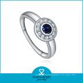 Alta qualidade em forma redonda prata jóias de safira azul (sh-j0015r)
