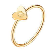Ladies Stainless Steel Gold Heart Name Letter Monogram Engraved Cock Personalized Finger Ring