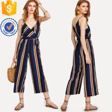 Combinaison à rayures en V multicolore à rayures latérales à la mode OEM / ODM Fabrication en gros Vêtements pour femmes (TA7019J)