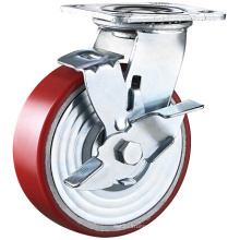 8 Inch Industrial Heavy Duty PU on Cast Iron Swivel Caster with Brake