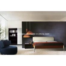Lit de cuir en bois de Style Italien divany meubles (A-B19)