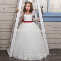 Wholesale Kids Birthday White Floor Length Lace Girl Dress Tulle Flower Girl Dress With Red Bowknot For wedding