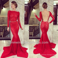 Dress Open Back High Neck Lace Evening Gown Mermaid Floor Length Red Backless Evening Dress Lace DEY8