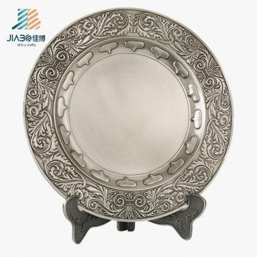 Поставка античное серебро 21см логотип Сувенирная тарелка в металлическом подарок