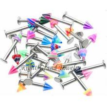 Joyería de cuerpo color mezclado UV Spike acrílico Labret Piercing