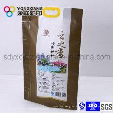Tamaño personalizado arroz laminado pa empaquetado de plástico bolsa con mango