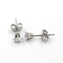 Sliver Plated CZ Diamond Stud Fashion Jewelry Earrings