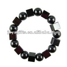 Moda Hematite Praça Beaded Bracelet