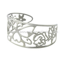 Design manufacture women's men's stainless steel fashion jewellery hollow out flower butterfly shape statement bracelets bangles