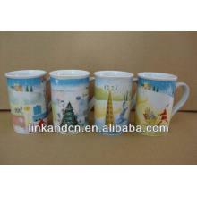 Haonai 11oz bulk lovely winter full decal ceramic coffee mugs