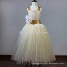 Custom A-Line Top Tank Lace Up Back Organza Skirt Flower Girl Dress Vestidos FGZ50 Girls Wedding Dresses