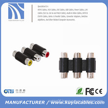 3RCA Adapter 3 Way Female to Female F to F RCA AV Coupler Cable Adapter