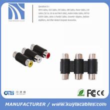 3RCA адаптер 3-контактный разъем для женского кабеля F-F RCA AV-переходник кабельного адаптера