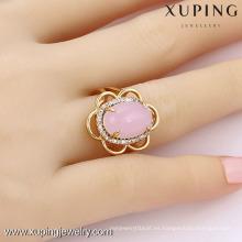 13677- Xuping Jewelry Anillo de moda chapado en oro con piedra grande