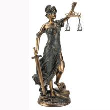 Бронзовая Леди правосудия статуя металлическая скульптура