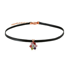 44369 Fashion jewelry colorful flower leather choker with 18k gold for girls