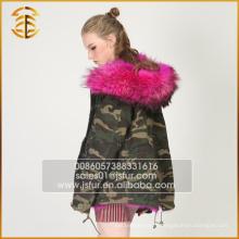 Livraison directe en usine Faux Raccoon Jackets Army Real Fox Fur Parka