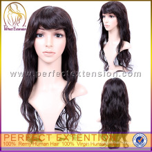 In Stock Monofilament Natural African Dark Brown Afro Human Hair Wigs With Bangs
