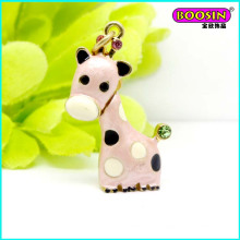 Lovely Custom Alloy Enamel Deer Necklace Jewellery Charm