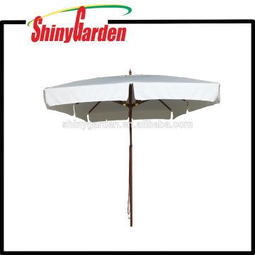 Parapluie carré en hêtre 3 * 3M avec patin en plastique, moyeu et 8 dernières côtes