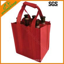 Bolso no tejido de botella de vino de 6 botellas con manijas