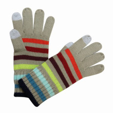 Luvas de inverno moda malha listrado toque de tela (yky5328)