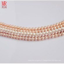 7-8mm Round Natural Fresh Water Pearl Strand