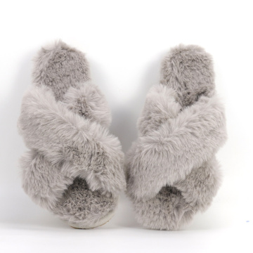 Fashion Fluffy Rabbit Fur Slides Slippers for Women