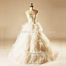 Cake Wedding Dress 3D Flowers Ball Gown Luxury Heavy Beading Wedding Dress