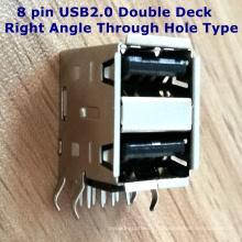 Connecteur à 8 broches USB2.0 à double angle droit à travers le trou