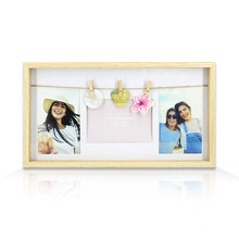The latest summer hot black density board hemp rope with small cli coulples photo frame