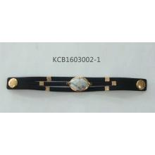 Black Leather Bracelet with White Stone