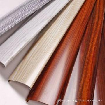 Pulido Construcción de grano de madera Ventana de aluminio Perfil de puerta Perfil de aluminio