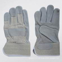 Kuh Split Leder Voll Plam Arbeit Handschuh mit Baumwolle zurück