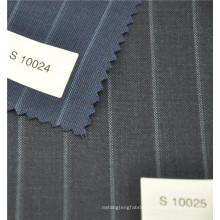 High fashion bole stripe worsted 70%wool 30%polyester fabric in navy and grey for suit jacket uniform