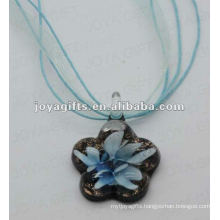 promotion gift Lampwork Glass Pendant Necklace Lampwork glass Necklace leaf pendant with wax cord